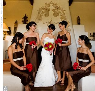 :) I love the brown dresses. The red flowers are okay, but I would prefer greens, yellows, oranges - Fall colors :P