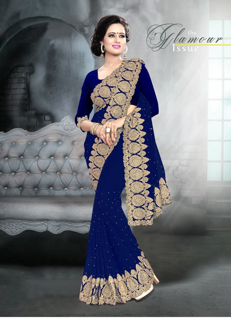 Shop our Charming Viscose Georgette Royal Blue Saree.