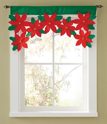 Christmas Poinsettia Floral Window Valance