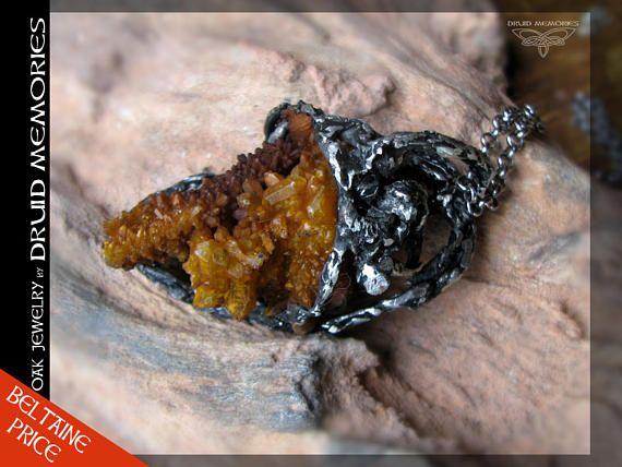 Iron quartz cluster pendant Queen Qeturah druids