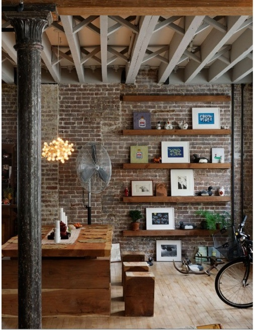 Exposed brick and wooden shelving
