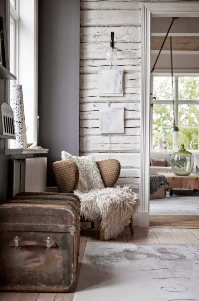 Love The Wall Treatment, White Reclaimed Wood Http://www.wonenonline.