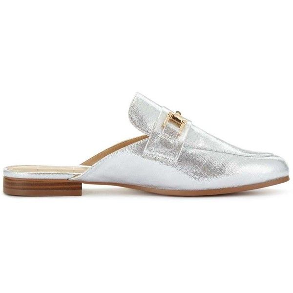 Miss Selfridge ELENA Snaffle Backless Loafers ($19) ❤ liked on Polyvore featuring shoes, loafers, silver color, backless loafers, backless shoes, mule loafers, mule shoes and loafers moccasins