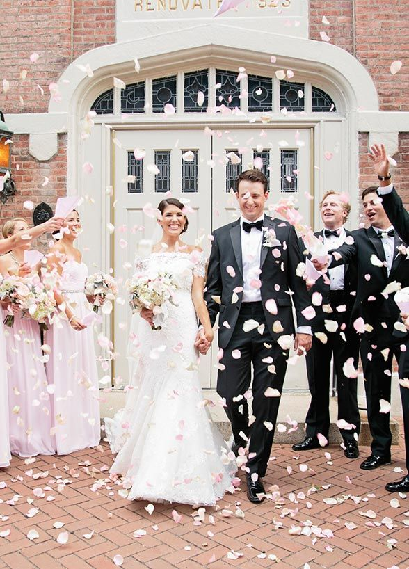 It doesn't get more romantic then walking through a shower of flower petals with your sweetheart. Wedding Ideas, Ceremony, Wedding Send Off Ideas