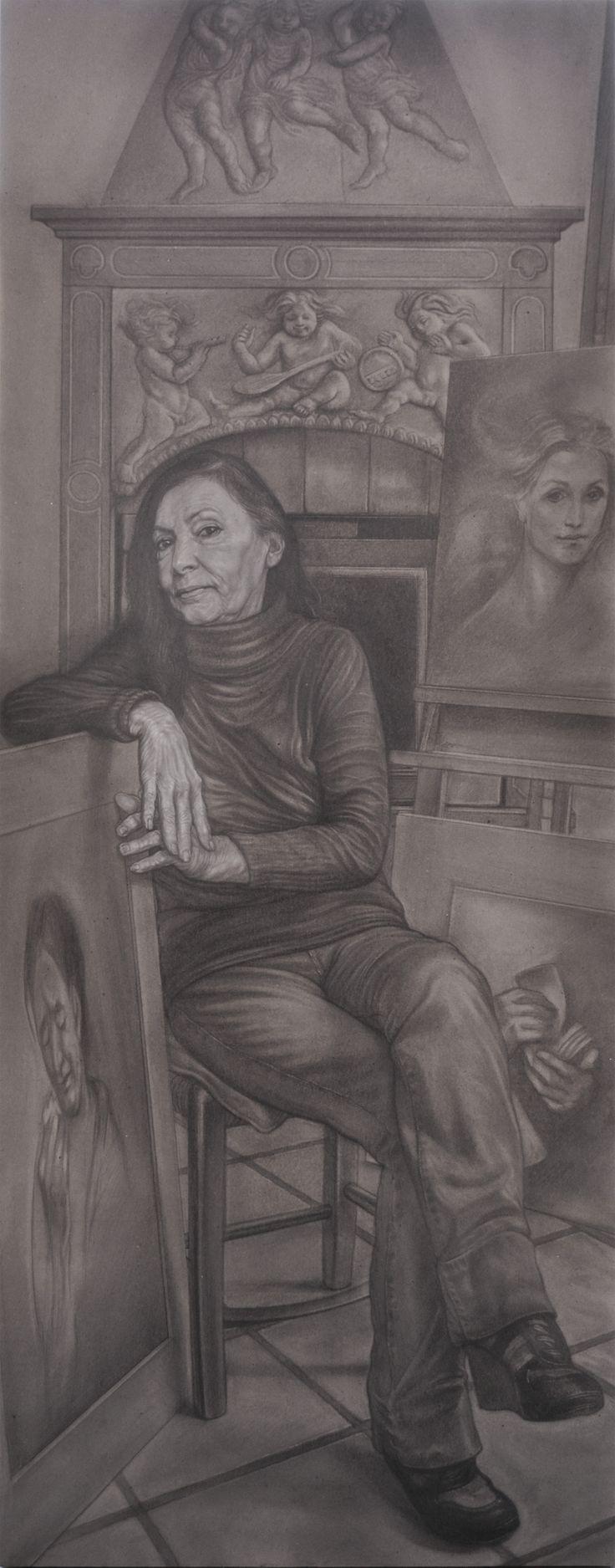 """The Artist Ilia Rubini"" pencil and white conté on grey paper on table cm 70x180"