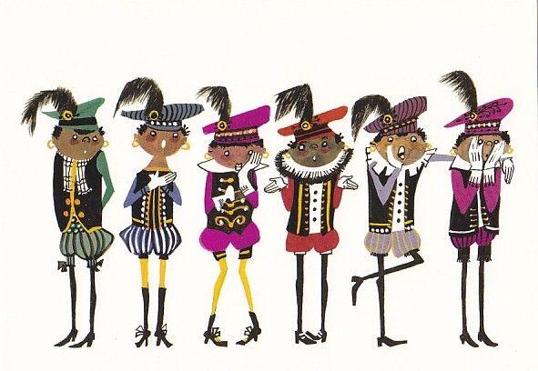 Sinterklaaskaart Fiep Westendorp Zwarte Pietjes