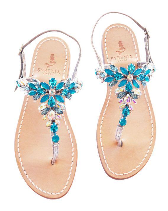 """Sandalo infradito gioiello """"Malania"""" azzurro, acquamarina - pelle argento - fatti amano su misura"""