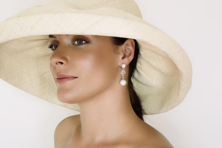 Crystal & pearl earrings, love this hat!
