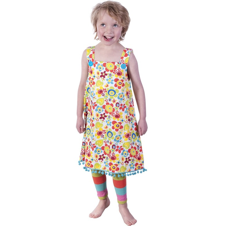 White Floral Print Pinafore with Blue Pom Poms