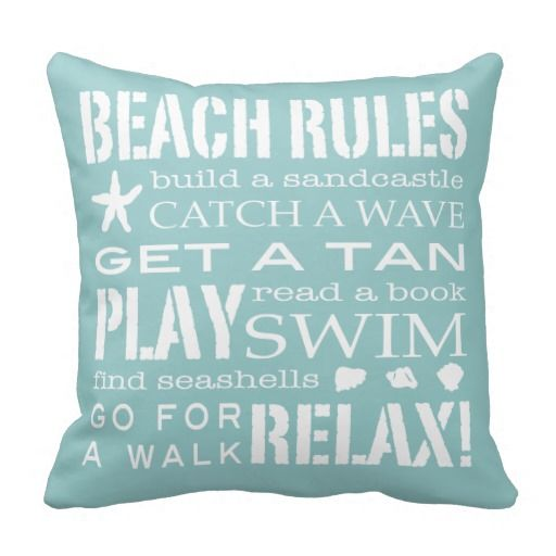 Beach Rules By the Seashore Soft Aqua & White Throw Pillows