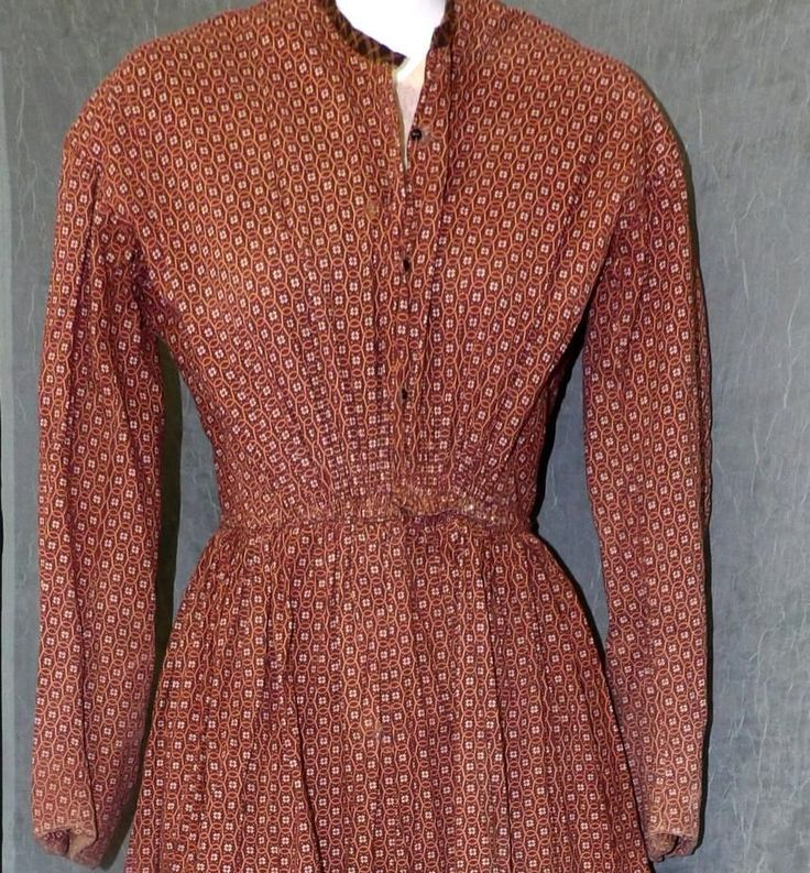 "RARE Orig Victorian Pre Civil War 1840 1850 Cotton House Day Dress Gown GR8 Cond | eBay seller bydenise; all hand sewn; built in cotton camisole with 6 stays on sides & shoulders; piping at armscyes & waist; fan effect in front; skirt cartridge pleated; camisole probably originally buttoned; collar to the period but probably not original to dress, some repairs; bust: 32-34""; waist: 24""; length: 59"""