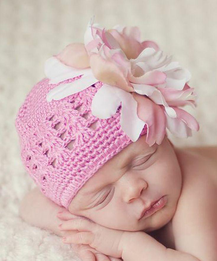 Pink Peony Crocheted Beanie