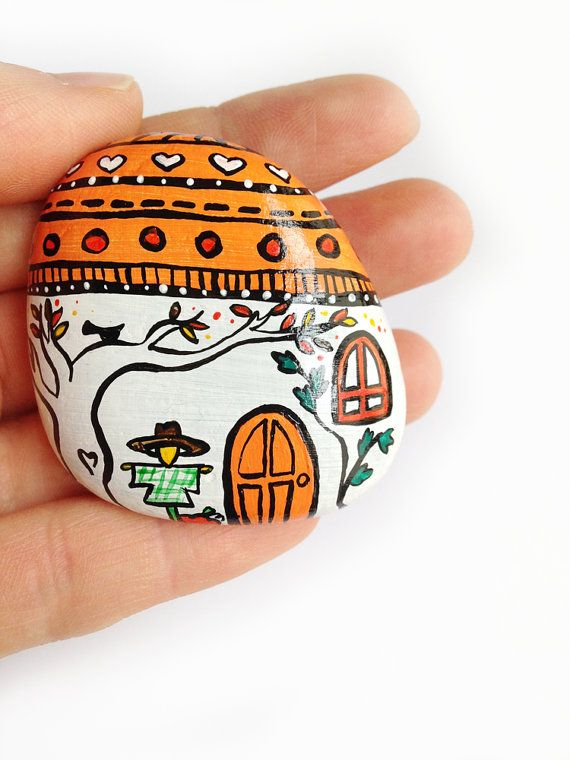 Autumn house paperweight handpainted stone back to by Mammabook