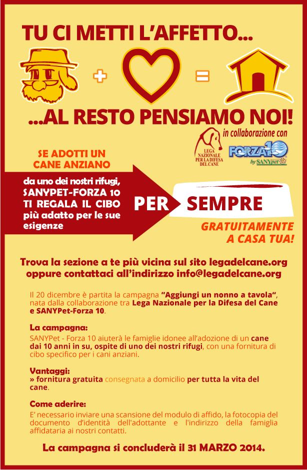 #adozioni - Importante novità nella campagna promossa da #LegadelCane e #SanypetForza10 per l' #adozione dei #cani #anziani: la fornitura di cibo gratis e a domicilio è per sempre!