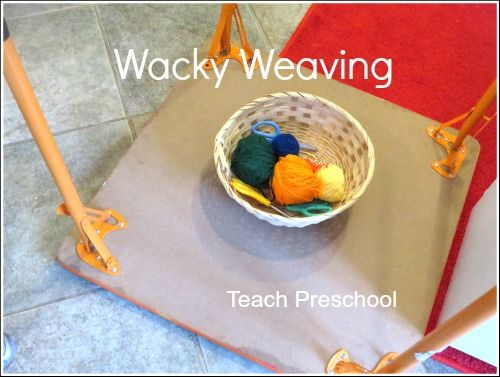 Upside down, wacky weaving in honor of Dr. Deuss. Great for motor planning and bilateral skills