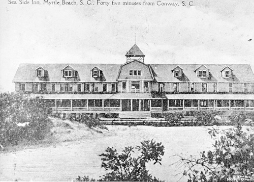 The first hotel at Myrtle Beach, built in 1900, behind the sand dunes [photograph] / Anchor Bank ; photographed by Dr. C.J. Epps. [Myrtle Beach, S.C.] : Anchor Bank, [19--]. [19--]. by RCPL_SC, via Flickr
