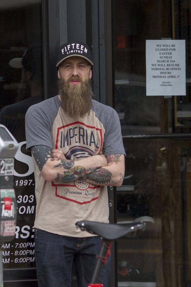 full thick long beard and mustache beards bearded man men mens' style street denim tattooed tattoos ink natural length handsome #beardsforever