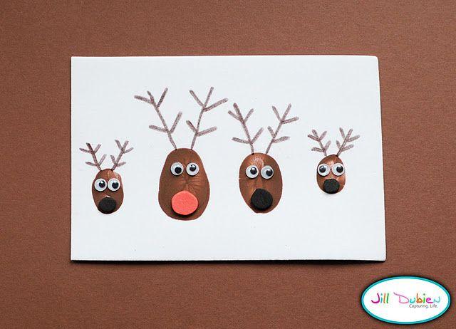 -X-Mas Card Thumb print reindeer