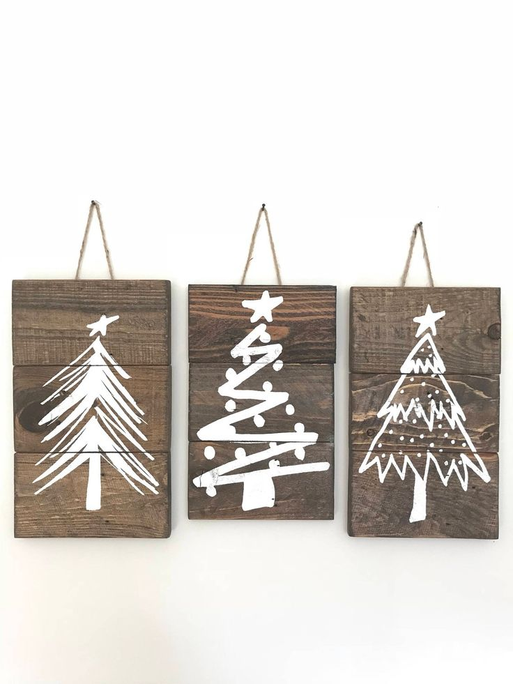 Rustic Christmas Tree Signs, Christmas Tree Sign Set, Christmas Tree Signs, Farmhouse Christmas Decor, Rustic Signs with Twine, Sign Set