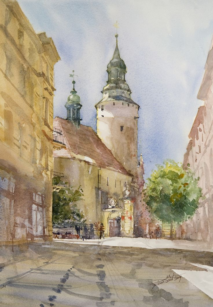 Old Church in Jelenia Gora, 51x36cm, 2009 www.minhdam.com #architecture #watercolor #watercolour #art #artist #painting #poland