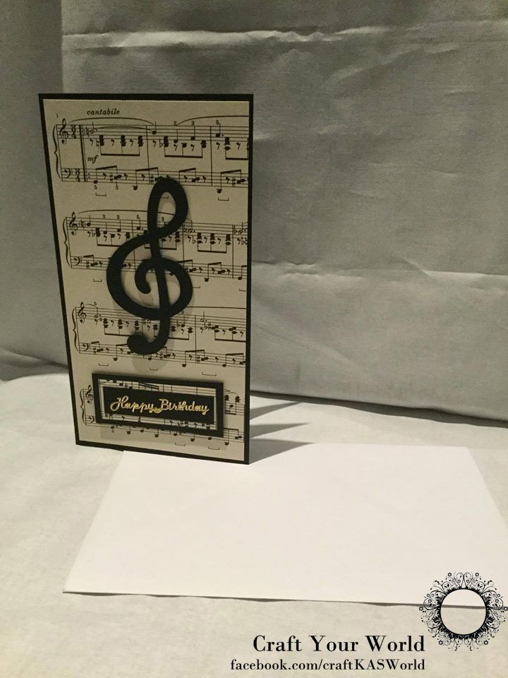 Handmade card using recycled music paper.