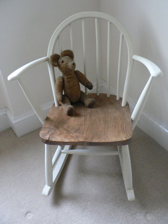 Ercol Rocking Chair With Elm Seat Painted in by RubydoDesigns