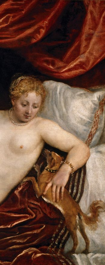 Detail of a painting by Titian (c.1488-90-1576), Venus and organist and little dog.: