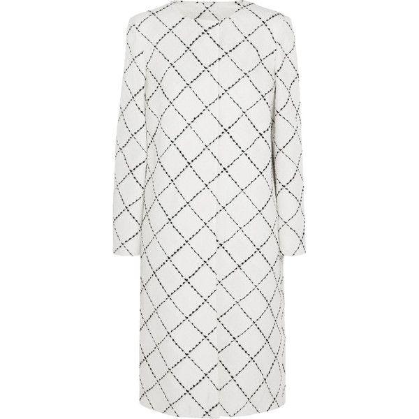 Oscar de la Renta - Wool-tweed Coat ($897) ❤ liked on Polyvore featuring outerwear, coats, white, woolen coat, white wool coat, wool coat, oscar de la renta coat and white woolen coat