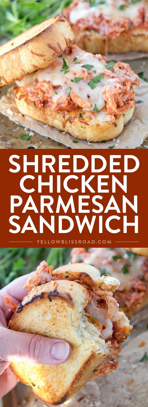 This SHREDDED CHICKEN PARMESAN SANDWICH has tender, flavorful chicken coated in a quick, homemade tomato sauce sandwiched between two crisp slices of cheesy Texas Toast. If you're looking for an easy weeknight dinner recipe, this is it! via @yellowblissroad