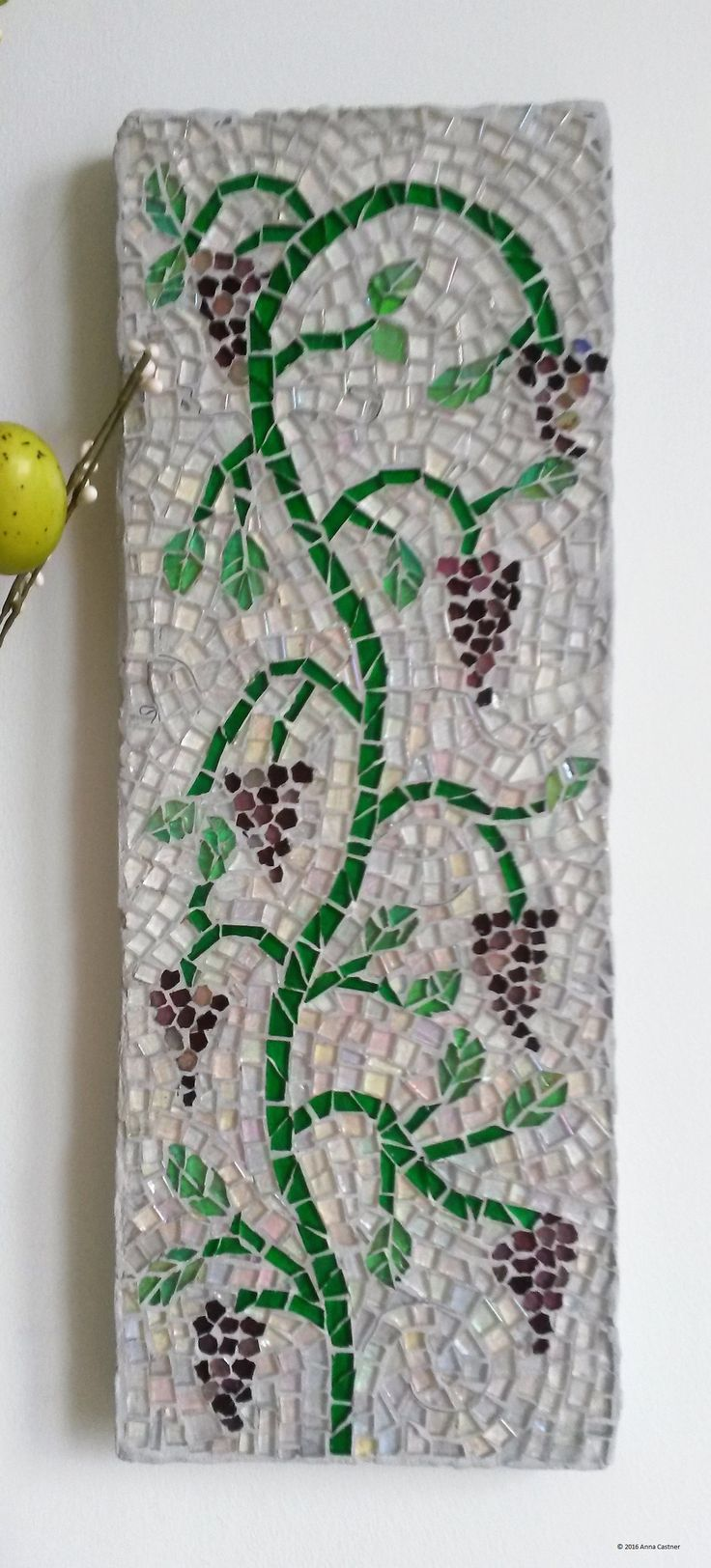 Sold custom made butterfly mosaic table top for mary ann in texas -  Vines 1 Of A Pair Mosaic Wall Panel Made With Sicis Glass