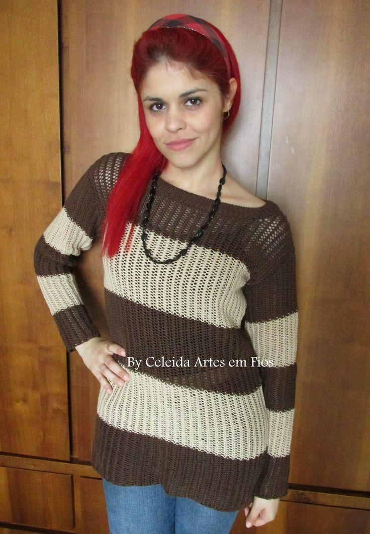 Celeida Artes em Fios: Blusa de tricô - com receita