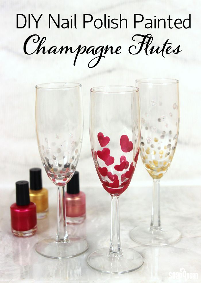 Use nail polish to create festive champagne glasses! Works great with other glass surfaces, such as wine or pint glasses.