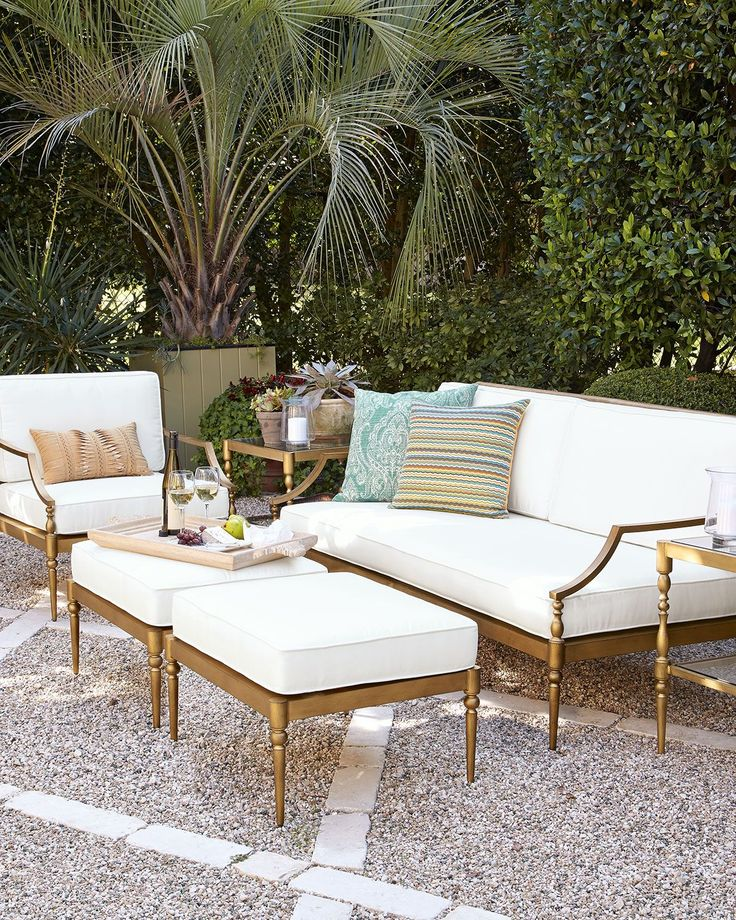 Neiman Marcus Sophia Outdoor Sofa Chair Ottoman Outdoor Dining Furniture Outdoor Sofa Living Room Furniture Layout