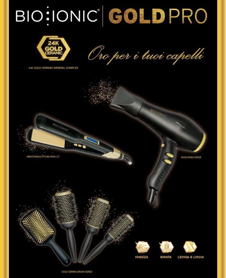 Non accontentarti mai di una spazzola, un phon o una piastra qualsiasi :-( Da oggi Bio Ionic presenta la linea di strumenti GoldPro che unisce la miscela di 32 minerali agli effetti benefici della foglia d'oro per donare ai capelli idratazione, condizionamento e un effetto anticrespo senza pari. Ecco perché la linea di strumenti GoldPro è oro per i tuoi capelli!