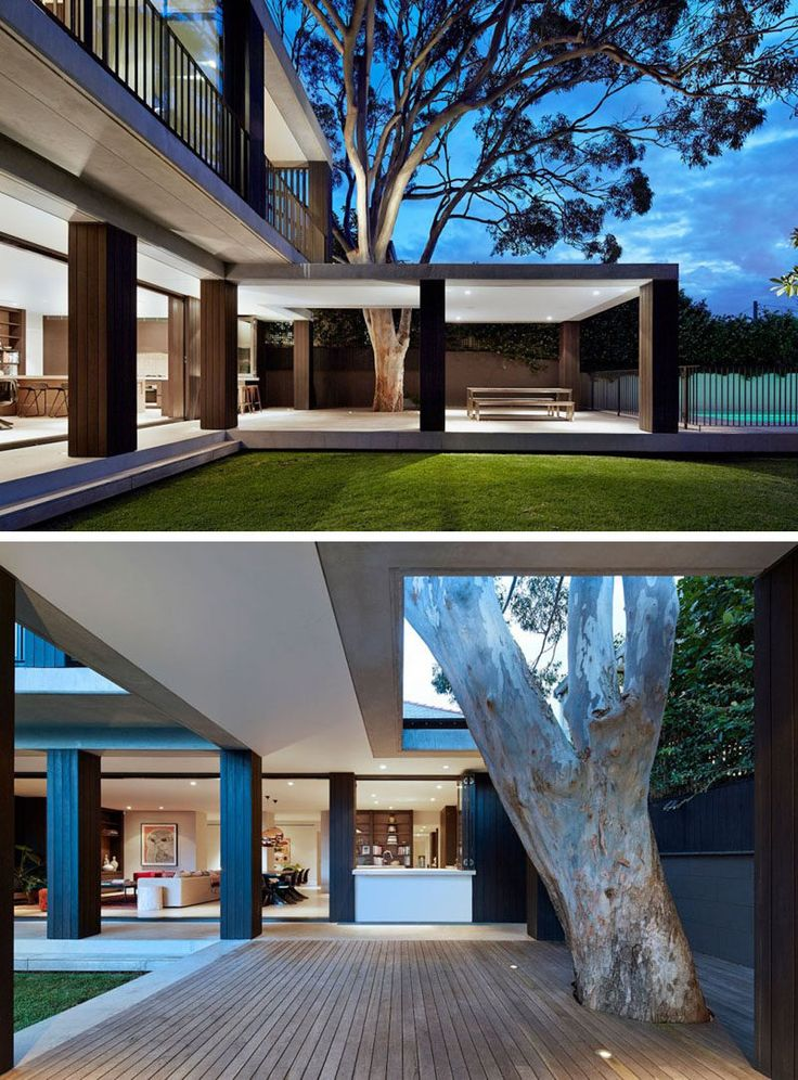 23 Awesome Australian Homes That Perfect Indoor / Outdoor Living // The bottom level of this home opens up onto a partially covered deck with integrated lighting and enough space to comfortably fit a dining table and barbeque, as well as prep space if necessary.