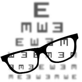Sehtest mit Brille - Ein normaler Sehtest wie mein Optiker bzw. Augenarzt. Hier durch eine Brille gesehen, wo die Zeichen wieder klar zu erkennen und nicht mehr verschwommen sind.