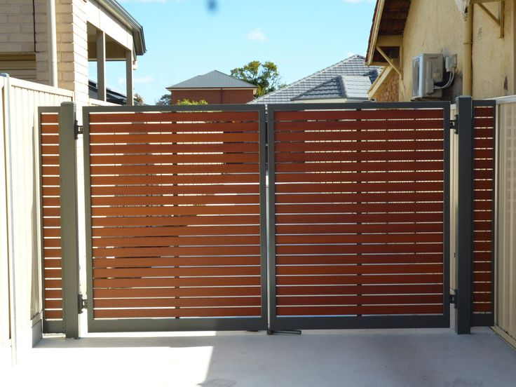 Slat Fencing in Adelaide Wooden gates driveway