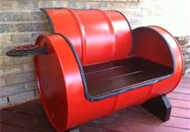 Upcycled metal drum into lounge chair