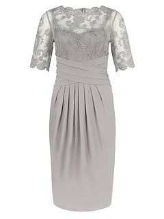 Grey Lace And Jersey Dress