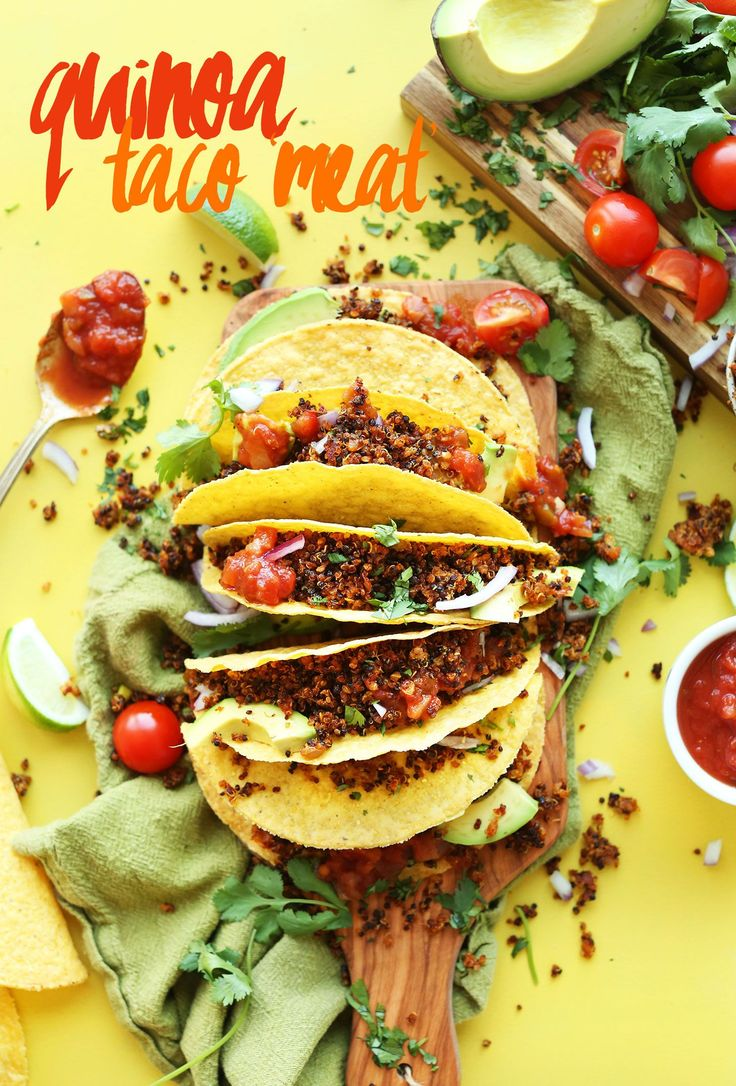 EASY Quinoa Taco %22Meat%22 that's crispy, flavorful, and protein-packed! 9 ingredients, SO EASY, healthy! #vegan #glutenfree #quinoa #tacos #mexican #plantbased #recipe #healthy