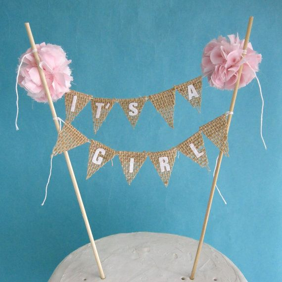 "Cake topper,  burlap baby shower,  baby banner, ""It's a Girl"" L304 - baby bunting cake banner on Etsy, $30.00"