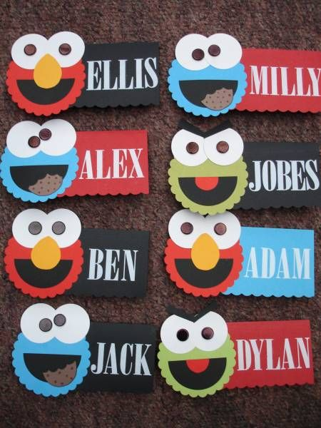 Sesame Street Elmo Oscar & Cookie Monster party place cards by leelulumpkin - Cards and Paper Crafts at Splitcoaststampers