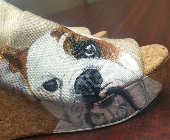 English Bulldog Shoes pet puppy cute dog pup fur dog whiskers hand painted born at night michaela naylor couture jowels