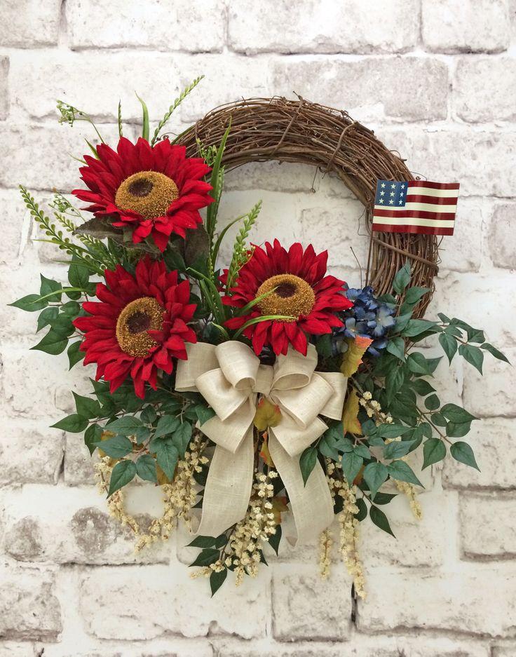 Red Sunflower Wreath, Patriotic Wreath, Summer Wreath, Front Door Wreath, Outdoor Wreath, Silk Floral Wreath, Grapevine Wreath by AdorabellaWreaths on Etsy https://www.etsy.com/listing/236662278/red-sunflower-wreath-patriotic-wreath