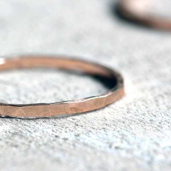 Pink gold ring hammered ring 14k pink gold by PraxisJewelry