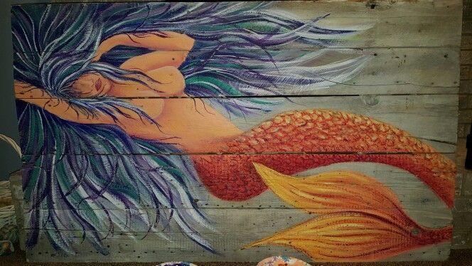 Mermaid Artwork on barnwood