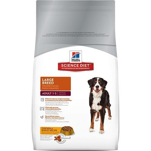 Hill's Science Diet Adult Large Breed Dry Dog Food Bag. Natural sources of glucosamine & chondroitin for joints & mobility. Natural ingredients plus vitamins, minerals and amino acids. Clinically proven antioxidant benefits. No artificial colors, flavors, or preservatives. Science Diet is available in a variety of dry, canned and treats. At 7 years of age, transition your dog to a Science Diet Large Breed Adult 7+ food, over 7-10 days.