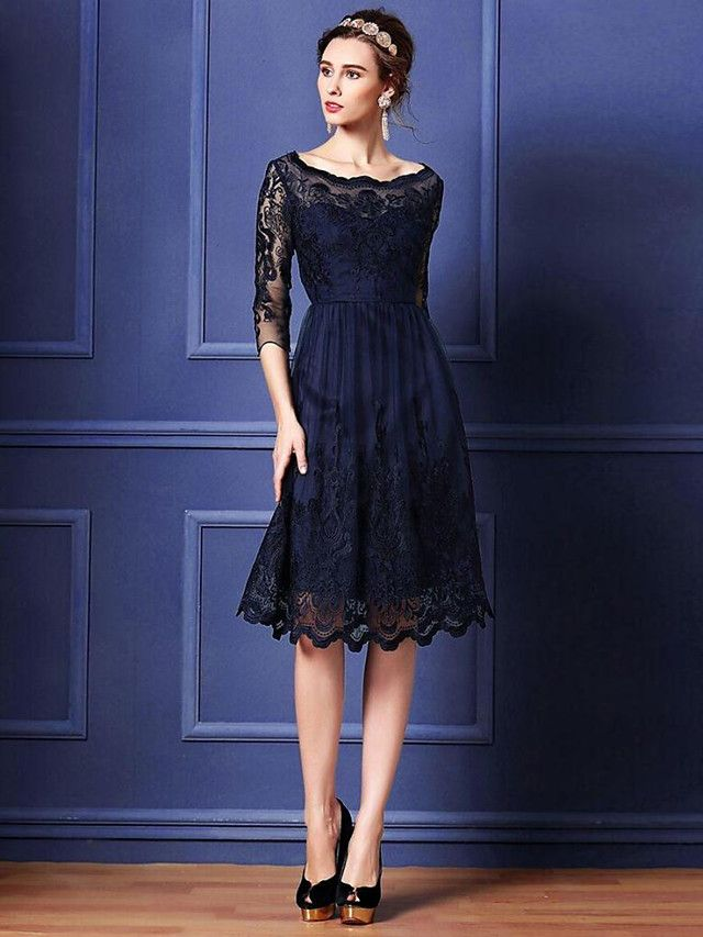 A-line Mother of the Bride Dress - Dark Navy Knee-length 3/4 Length Sleeve Lace / Polyester - USD $ 79.99