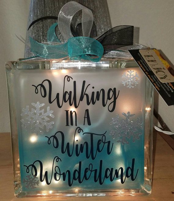 Ombre winter/ holiday lighted glass block 8x8 by KBKreativeDesigns