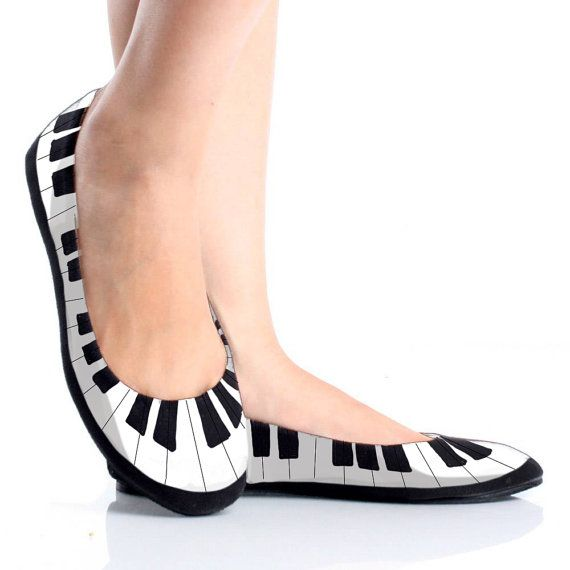 Piano Keys Painted Shoes- Flats or Heels. I don't think I would ever get something like this but they're pretty cool!